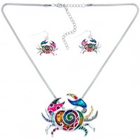 Watches Women Jewelerry sets Blue Pearls Multicolor Crab Pendant and Earrings Set Multicolored
