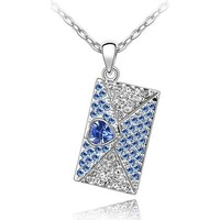 Watches Women Pendants Blue Pearls Love Letter Pendant made with a Blue Crystal from Swarovski Multicolored