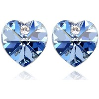 Watches Women Earrings Blue Pearls Hearts Earrings made with a blue Crystal from Swarovski Multicolored