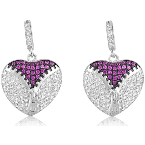 Watches Women Earrings Blue Pearls 206 White and Pink Swarovski Crystal Zirconia Heart Earrings and Multicolored