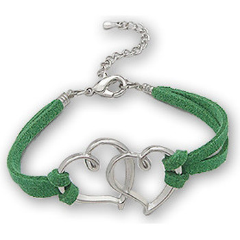 Watches Women Bracelets Blue Pearls Green Double Heart Suedin Bracelet and Rhodium plated Multicolored