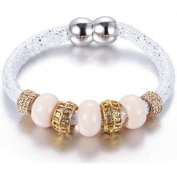 Watches Women Bracelets Blue Pearls White Glass Beads Bracelet and Steel Gold Multicolored