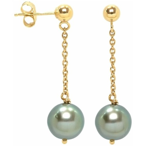 Watches Women Earrings Blue Pearls Black Tahitian Pearl Dangling Earrings and yellow gold 750/1000 Gold