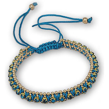 Watches Women Bracelets Blue Pearls Blue Crystal Bracelet and Gold Steel Multicolored