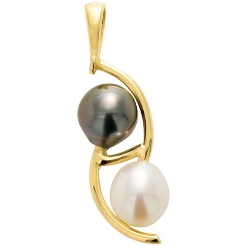 Watches Women Pendants Blue Pearls Black Tahitian Pearl and White Freshwater Pearl Pendant and Yell Gold