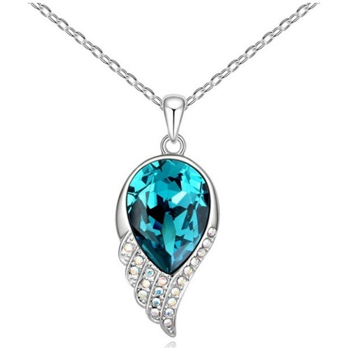 Watches Women Pendants Blue Pearls Turquoise Swarovski Element Crystal Feather Pendant and White Go Multicolored