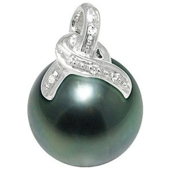 Watches Women Pendants Blue Pearls Diamants, Tahitian Pearl Pendant and White Gold 750/1000 White
