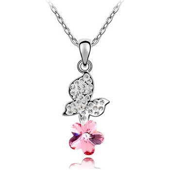 Watches Women Pendants Blue Pearls Pink Swarovski Element Crystal Butterfly Pendant Multicolored
