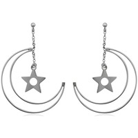 Watches Women Earrings Blue Pearls 925 Silver Moon and Star Earrings Multicolored