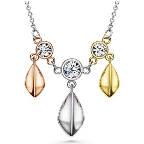Watches Women Necklaces Blue Pearls 3 Golds, White Swarovski Crystal Elements and Rhodium Plated Nec Multicolored