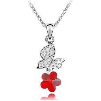 Watches Women Pendants Blue Pearls Red Swarovski Element Crystal Butterfly Pendant Multicolored