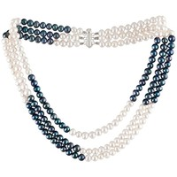 Watches Women Necklaces Blue Pearls Black and White Freshwater Pearl Multi Row Necklace and Silver C Multicolored