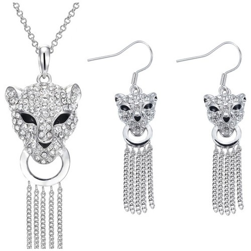 Watches Women Jewelerry sets Blue Pearls Panther Pendant and Earrings Set with White Swarovski Elements C Multicolored