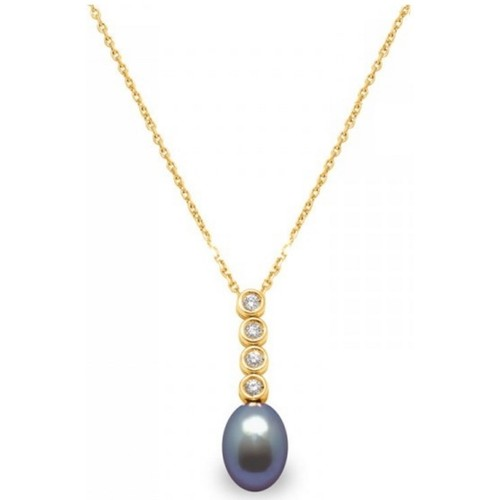 Watches Women Necklaces Blue Pearls Black Freshwater Pearl and Diamonds Pendant and Yellow Gold 750/ Multicolored