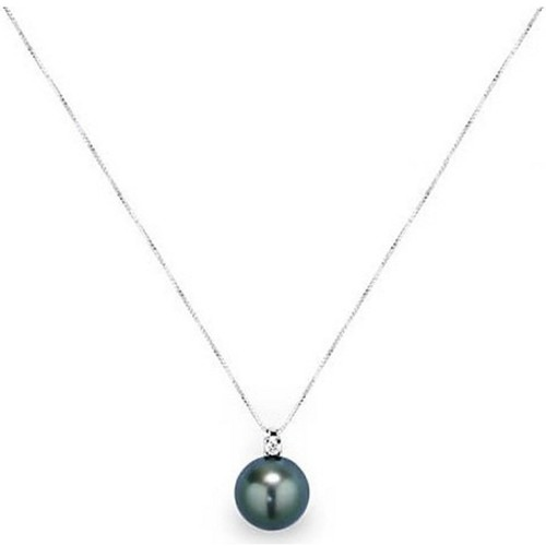 Watches Women Necklaces Blue Pearls Black Tahitian Pearl and Diamonds Pendant and White Gold 750/100 Multicolored