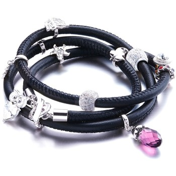 Watches Women Bracelets Blue Pearls Charms Beads and Crystals Swarovski Elements Black Leather Brace Multicolored