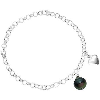 Watches Women Bracelets Blue Pearls Women's Bracelet in Sterling Silver 925/1000, 9 mm Black Rimmed Multicolored