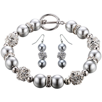 Watches Women Jewelerry sets Blue Pearls Silver Pearls, Crystal and Rhodium Plated Bracelet and Earrings Multicolored