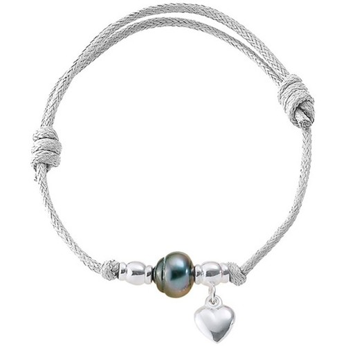 Watches Women Bracelets Blue Pearls Tahitian Pearl Heart 925 Sterling Silver and White Waxed Cotton Multicolored