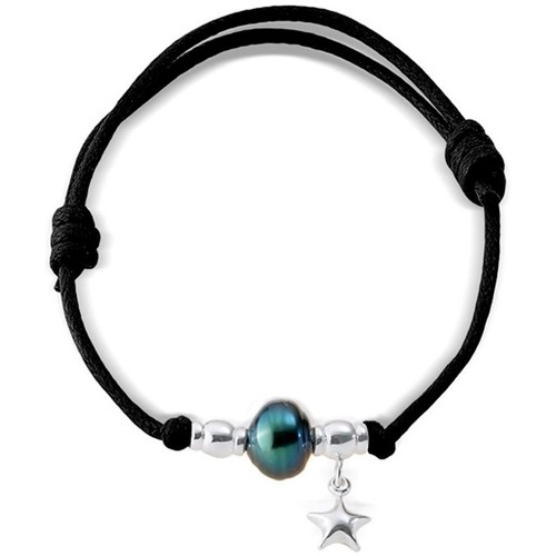 Watches Women Bracelets Blue Pearls Tahitian Pearl Bracelet, 925 Sterling Silver Black Waxed Cotton Multicolored