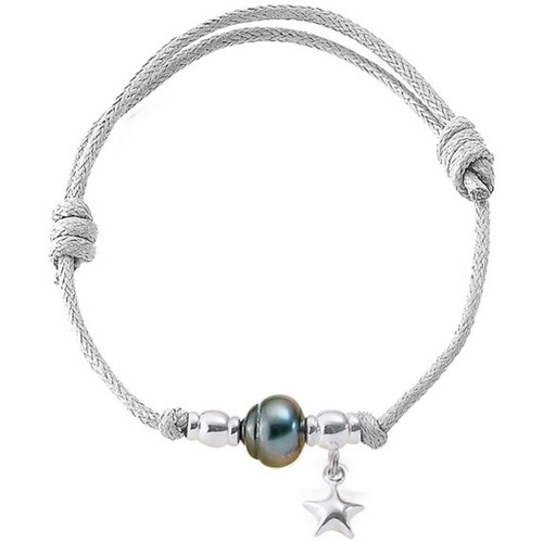 Watches Women Bracelets Blue Pearls Tahitian Pearl Bracelet, 925 Silver Star and White Waxed Cotton Multicolored