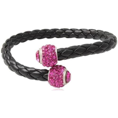 Watches Women Bracelets Blue Pearls Black Leather Pink Crystal Pearls and 925 Silver Bracelet Multicolored