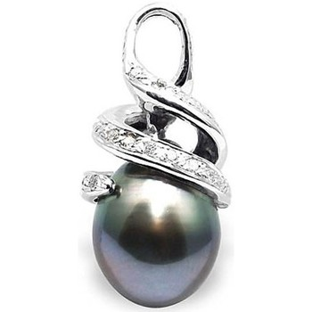 Watches Women Pendants Blue Pearls Diamonds, Tahitian Pearl Pendant and White Gold 750/1000 White