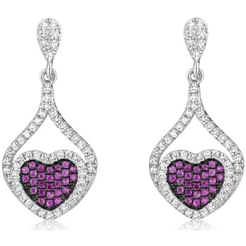 Watches Women Earrings Blue Pearls Heart Earrings 925 Silver and White and Pink Swarovski Crystal Z Multicolored
