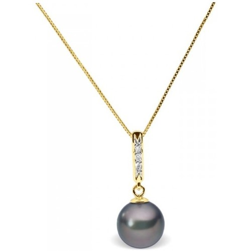 Watches Women Necklaces Blue Pearls Black Freshwater Pearl and Diamonds Pendant and Yellow Gold 375/ Multicolored