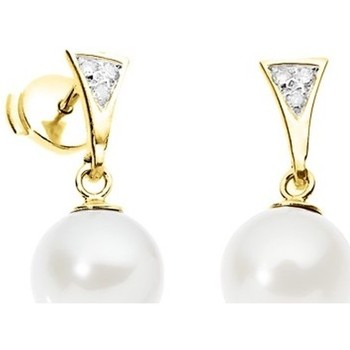 Watches Women Earrings Blue Pearls White Freshwater Pearl Diamond Earrings and yellow gold 750/1000 Multicolored