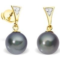 Watches Women Earrings Blue Pearls Black Freshwater Pearl Diamond Earrings and yellow gold 750/1000 Multicolored