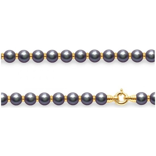 Watches Women Necklaces Blue Pearls Black Freshwater Pearls and Yellow Gold 750/1000 Necklace Multicolored