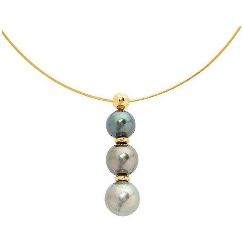 Watches Women Necklaces Blue Pearls 3 Tahitian Pearls Cable Necklace and Yellow Gold 750/1000 Multicolored