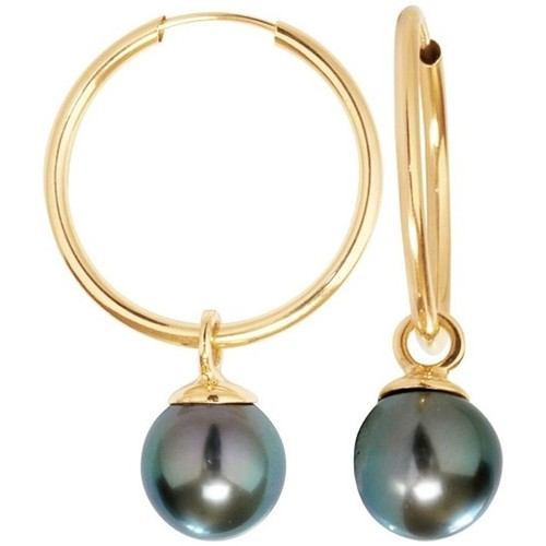 Watches Women Earrings Blue Pearls Black Tahiti Pearls Hoop Earrings and Yellow Gold 750/1000 Gold