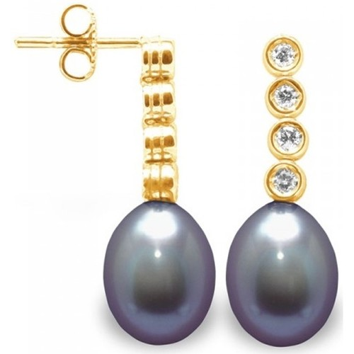 Watches Women Earrings Blue Pearls Black Freshwater Pearls, Diamonds Earrings and yellow gold 750/1 Multicolored