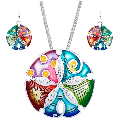 Watches Women Jewelerry sets Blue Pearls Multicolor Solar Pendant and Earrings Set Multicolored