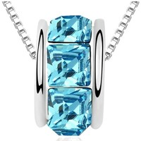 Watches Women Pendants Blue Pearls Blue Swarovski Elements Crystal Ring Necklace Multicolored