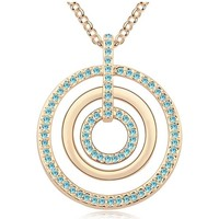 Watches Women Necklaces Blue Pearls Blue Crystal Swarovski Element Circles Long Necklace and Yellow Multicolored