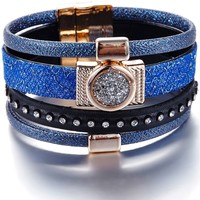 Watches Women Bracelets Blue Pearls White Crystals Swarovski Elements and Black and Blue Leather Bra Multicolored