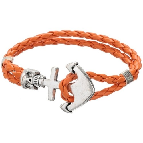 Watches Women Bracelets Blue Pearls Orange Braided Leather Anchor and Skull Stainless Steel Man Brac Multicolored