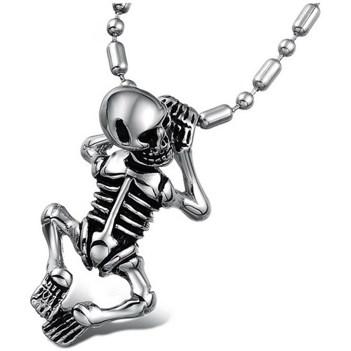 Watches Women Necklaces Blue Pearls Skeleton Man Pendant Necklace in Stainless Steel Multicolored