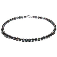 Watches Women Necklaces Blue Pearls Black Freshwater Pearl Necklace and 925 Silver Multicolored
