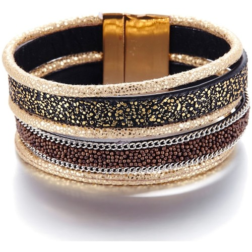 Watches Women Bracelets Blue Pearls Gold and Black Leather Bracelet and Stainless Steel Multicolored