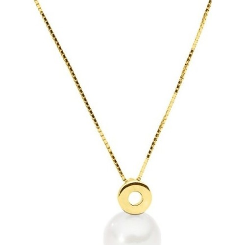 Watches Women Necklaces Blue Pearls White Freshwater Pearl Necklace and Yellow Gold 375/1000 Multicolored