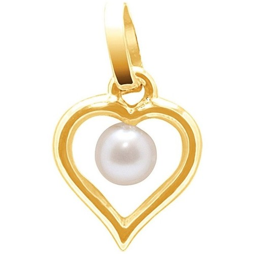 Watches Women Pendants Blue Pearls 750/1000 Yellow Gold Heart Pendant and White Freshwater Cultured Multicolored