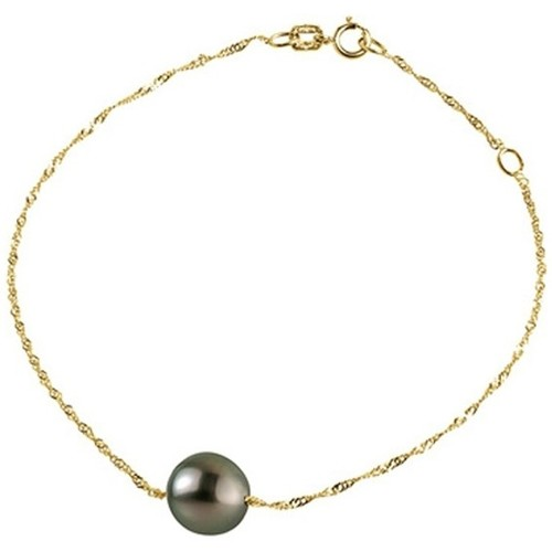 Watches Women Bracelets Blue Pearls Black Tahitian Pearl Woman Bracelet and Singapore chain Yellow G Multicolored
