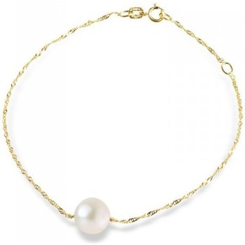 Watches Women Bracelets Blue Pearls Singapore Chain 375/1000 Yellow Gold and White Freshwater Pearl Multicolored