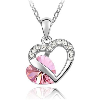 Watches Women Pendants Blue Pearls Heart Pendant mades with Pink Swarovski Crystal Element Multicolored