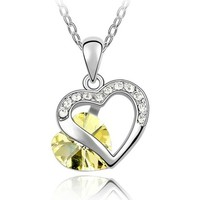 Watches Women Pendants Blue Pearls Heart Pendant mades with Yellow Swarovski Crystal Element Multicolored