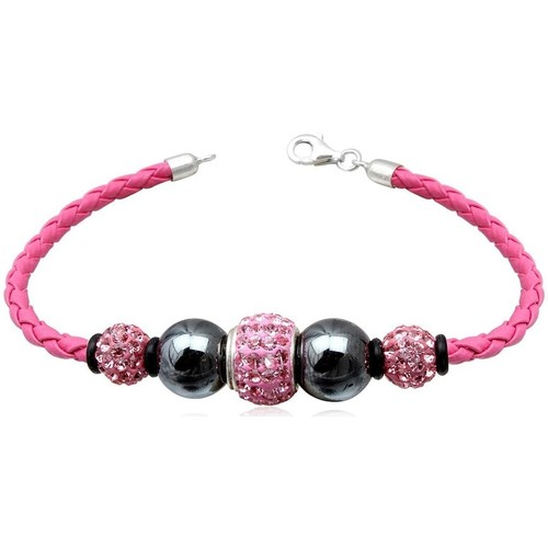Watches Women Bracelets Blue Pearls Pink leather bracelet, Black Hematite Pearl and Pink Crystal and Multicolored